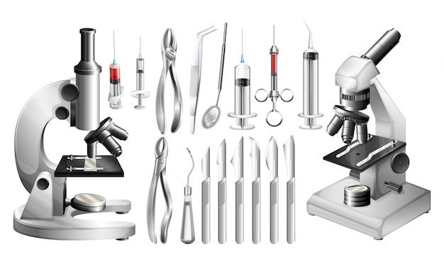 Diferentes equipamentos e ferramentas médicas