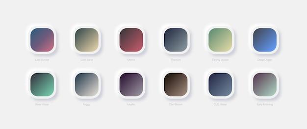 Diferentes estéticas modernas e gradientes de cores suaves definidos para design ui ux