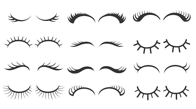 Diferentes estilos simples de ilustração de cílios
