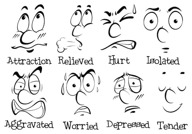 Diferentes expressões faciais com palavras