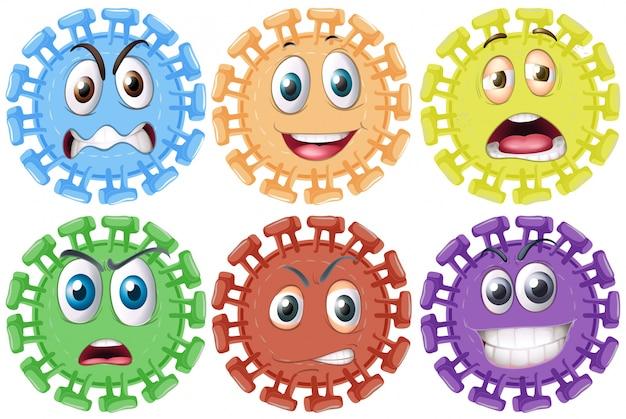 Diferentes expressões faciais em objetos redondos