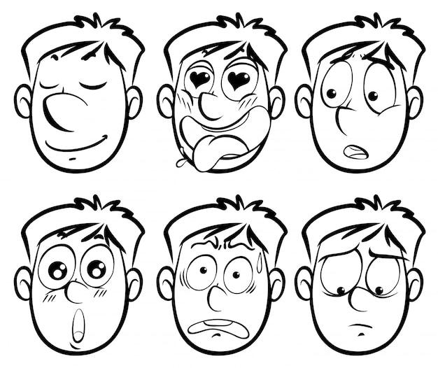Diferentes expressões faciais no homem
