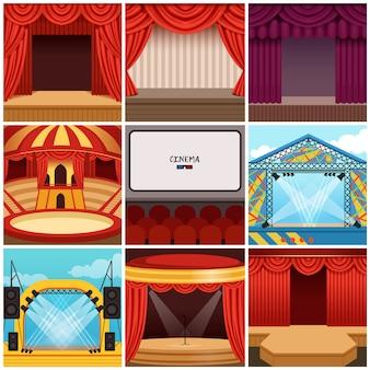 Diferentes fases coloridas de desenhos animados