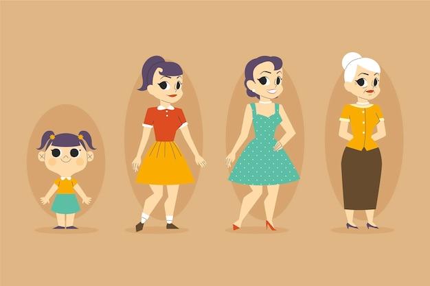 Diferentes fases do ciclo de vida de uma mulher