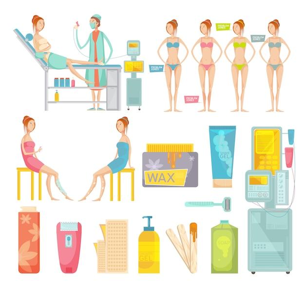 Diferentes ferramentas de depilação e procedimento de depilação no salão colorido conjunto plano isolado no fundo branco
