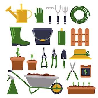 Diferentes ferramentas de trabalho para jardinagem. ícones do vetor definido em estilo simples