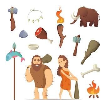 Diferentes ferramentas do período pré-histórico
