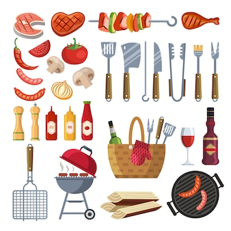 Diferentes ferramentas especiais e comida para churrasco