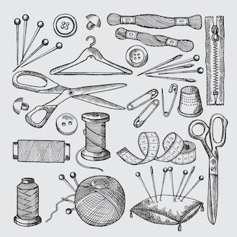 Diferentes ferramentas para oficina de costura. imagens de vetor na mão desenhada estilo