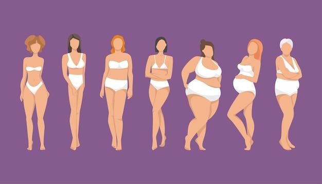 Diferentes figuras de mulheres na ilustração de roupas íntimas