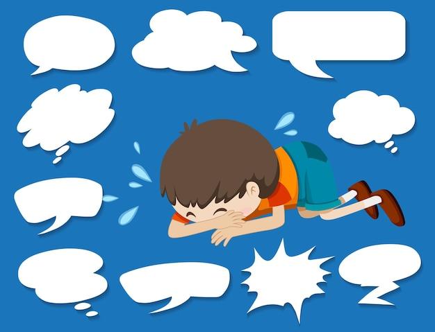Diferentes formas de balões de fala e menino chorando
