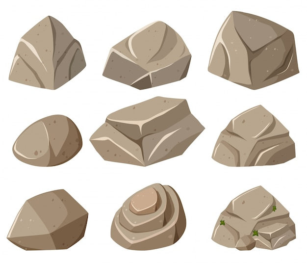 Diferentes formas de rochas cinzentas