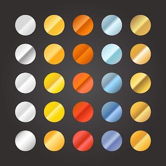 Diferentes gradientes de círculo de metal definidos em preto