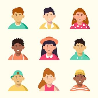 Diferentes homens e mulheres com belos avatares