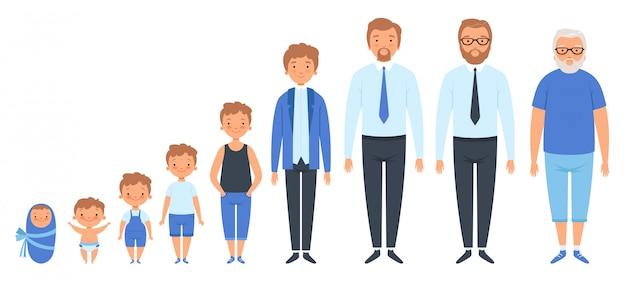 Diferentes idades masculinas. recém-nascido adolescente homem pessoa avô adulto povos clipart isolado