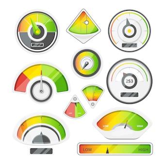 Diferentes indicadores de velocidade