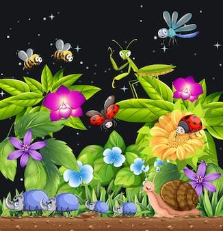 Diferentes insetos vivendo na cena do jardim à noite