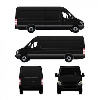 Diferentes lados de uma van