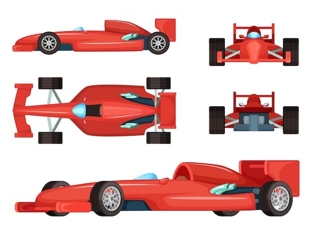 Diferentes lados dos carros esportivos. ilustração vetorial isolada. fórmula de velocidade do carro