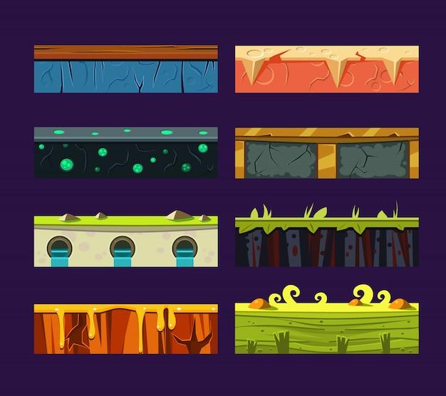 Diferentes materiais e texturas para o jogo.