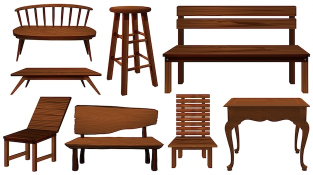 Diferentes modelos de cadeiras feitas de ilustração de madeira