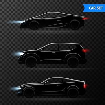 Diferentes modelos elegantes de carros vector a ilustração