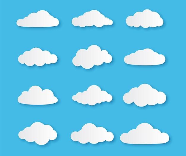 Diferentes nuvens no céu azul em design de origami