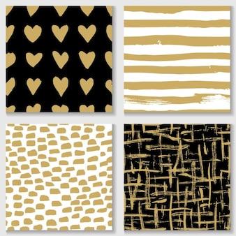 Diferentes padrões com elementos dourados