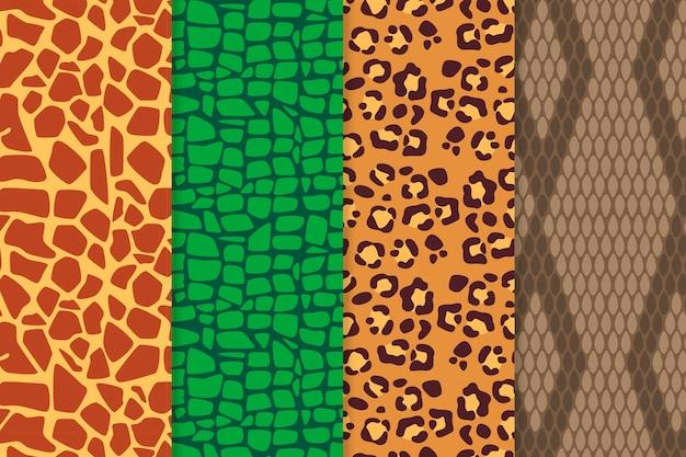 Diferentes padrões modernos de estampas de animais