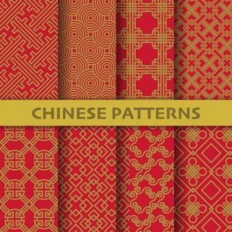 Diferentes padrões sem emenda de vetores de cultura chinesa, japonesa e asiática