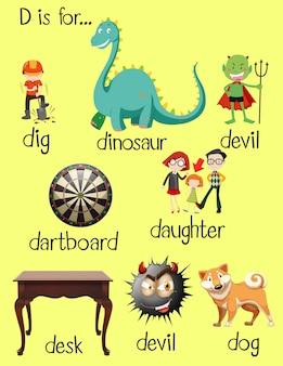 Diferentes palavras para a letra d
