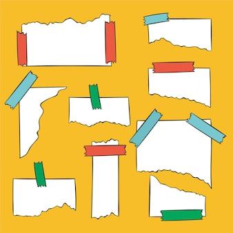 Diferentes papéis rasgados com pacote de fita