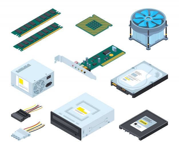 Diferentes peças de hardware e componentes de computador pessoal.