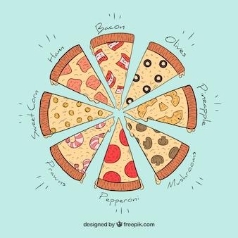 Diferentes pedaços de pizzas desenhadas à mão