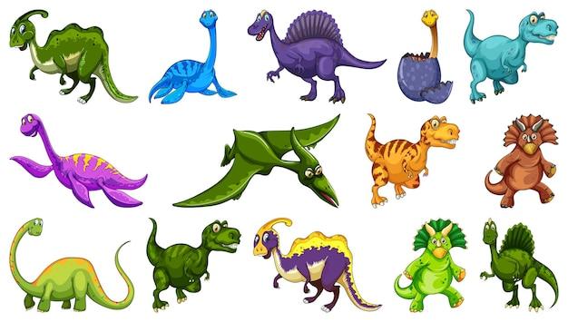 Diferentes personagens de desenho animado de dinossauros e dragões de fantasia isolados
