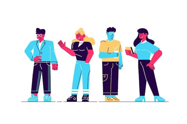 Diferentes personagens femininos e masculinos em fundo branco