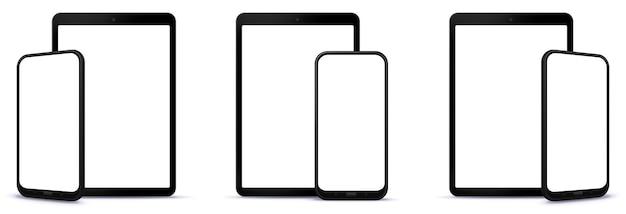 Diferentes perspectivas da ilustração frontal do telefone móvel e do computador tablet