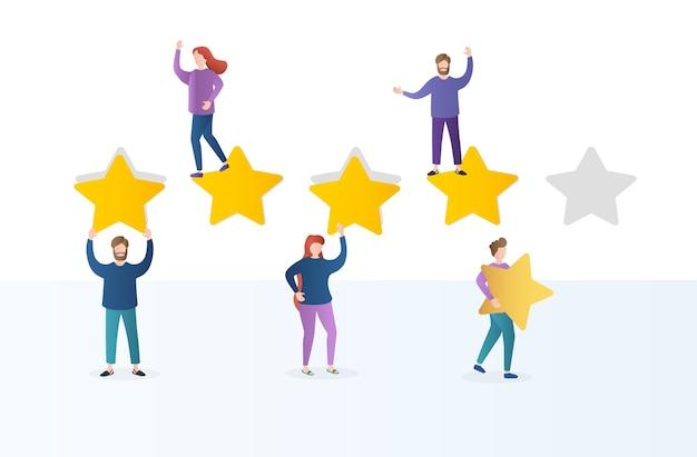 Diferentes pessoas dão avaliações e comentários de feedback. personagens seguram estrelas acima de suas cabeças.
