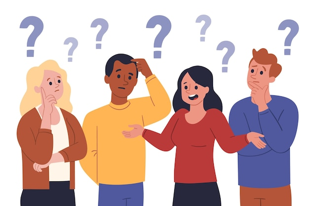 Diferentes pessoas fazendo perguntas