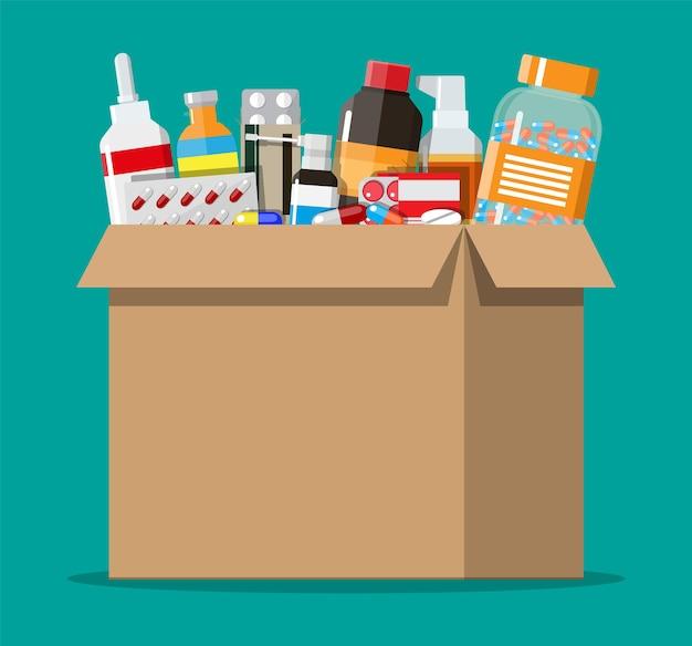 Diferentes pílulas e frascos em caixa de papelão, saúde e compras, farmácia, drogaria. tratamento de doenças e dores. droga médica, vitamina, antibiótico. ilustração vetorial em estilo simples