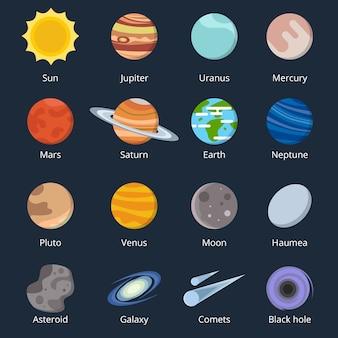 Diferentes planetas do sistema solar. ilustração do espaço