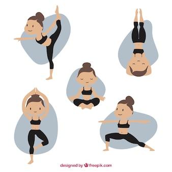 Diferentes posições de pilates
