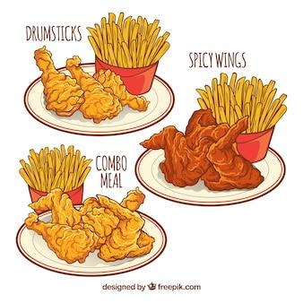 Diferentes pratos com frango frito e batatas