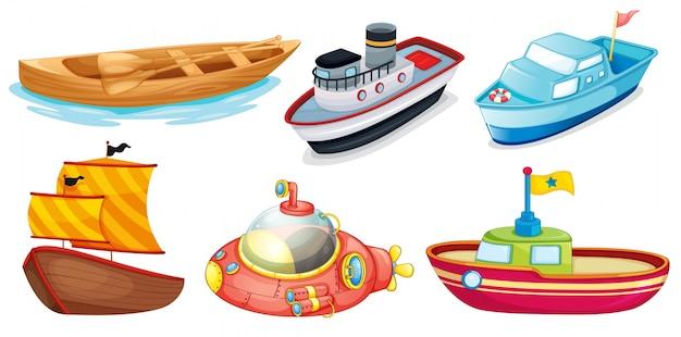 Diferentes projetos de barco