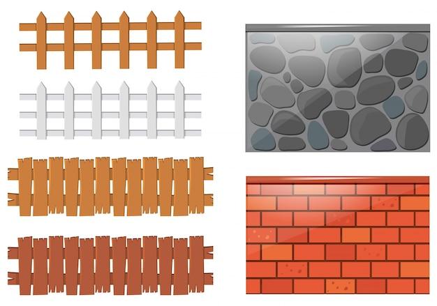 Diferentes projetos de cercas e paredes