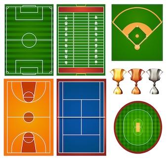 Diferentes quadras esportivas e troféus