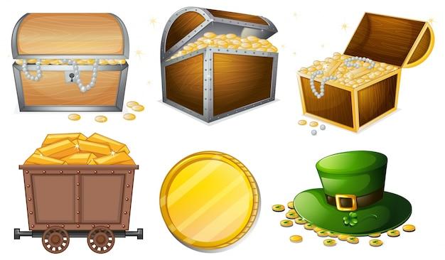 Diferentes recipientes cheios de ouro