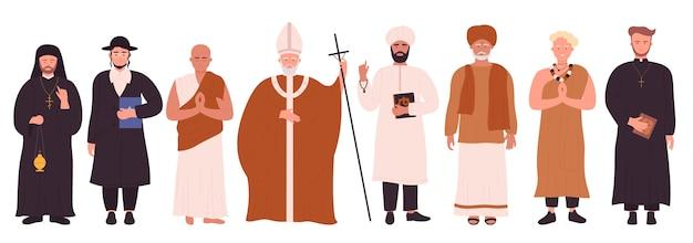 Diferentes religiões, cultura, pessoas, representantes em roupas tradicionais