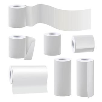 Diferentes rolos de papel higiênico em branco. ilustração conjunto rolo de papel para banheiro e toalha de cozinha