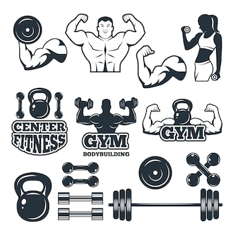 Diferentes símbolos e emblemas definidos para o clube de fitness